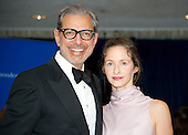 Actor Jeff Goldblum, left, and Emilie Livingston arrive for the 2016 White House Correspondents Association Annual Dinner at the Washington Hilton Hotel on Saturday, April 30, 2016.<br /> Credit: Ron Sachs / CNP<br /> (RESTRICTION: NO New York or New Jersey Newspapers or newspapers within a 75 mile radius of New York City)
