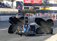 Feb 8, 2019; Pomona, CA, USA; NHRA top fuel driver Steve Faria during qualifying for the Winternationals at Auto Club Raceway at Pomona. Mandatory Credit: Mark J. Rebilas-USA TODAY Sports
