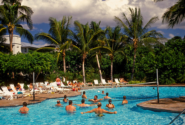 Bathers in pool, Ritz Carlton Mauna Lani Resort, Mauna Lani, Kohala Coast, Hawaii Island, Hawaii, United States.