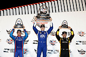 Verizon IndyCar Series<br /> Bommarito Automotive Group 500<br /> Gateway Motorsports Park, Madison, IL USA<br /> Saturday 26 August 2017<br /> Scott Dixon, Chip Ganassi Racing Teams Honda, Josef Newgarden, Team Penske Chevrolet, Simon Pagenaud, Team Penske Chevrolet, podium<br /> World Copyright: Michael L. Levitt<br /> LAT Images