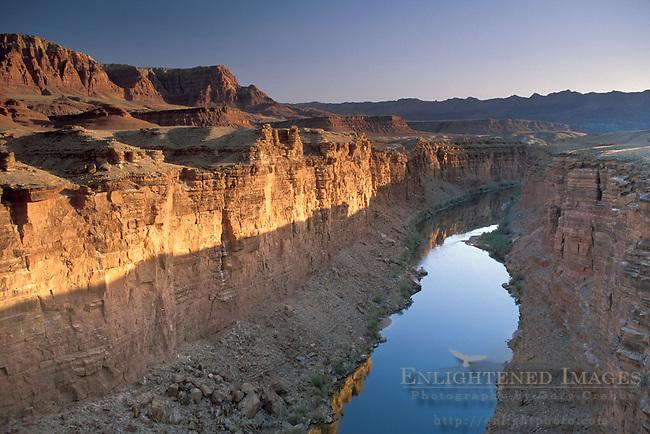 Colorado River Canyon at sunrise, Marble Canyon, from Navajo Bridge, Grand Canyon National Park, near Page, Arizona