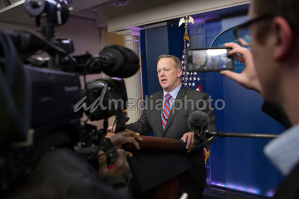 White House Press Secretary Sean Spicer makes a statement at the White House in Washington, DC, January 20, 2017. Photo Credit: Chris Kleponis/CNP/AdMedia