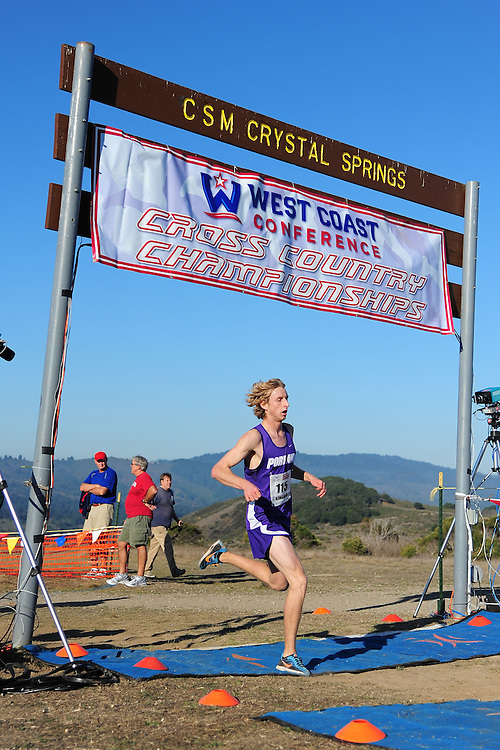 October 29, 2011; Belmont, CA, USA; Portland Pilots runner William Kincaid (115) competes during the WCC Cross Country Championships at Crystal Springs.