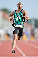 Nicholas Taylor 0f Utah Valley competes in 100 meter prelims during West Preliminary Track and Field Championships, Friday, May 29, 2015 in Austin, Tex. (Mo Khursheed/TFV Media via AP Images)