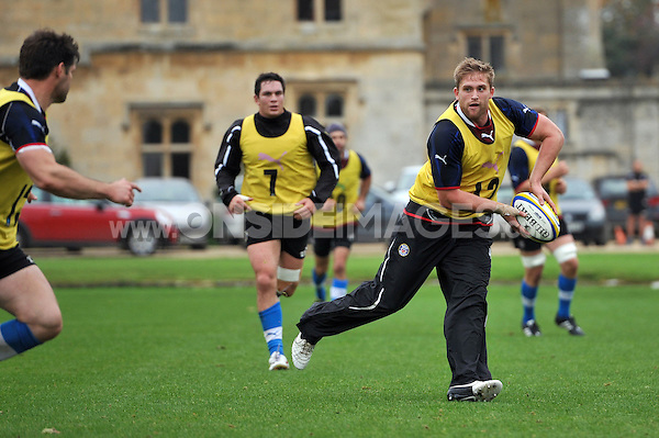Ben Williams looks to pass the ball. Bath Rugby training session on October 25, 2012 at Farleigh House in Bath, England. Photo by: Patrick Khachfe/Onside Images