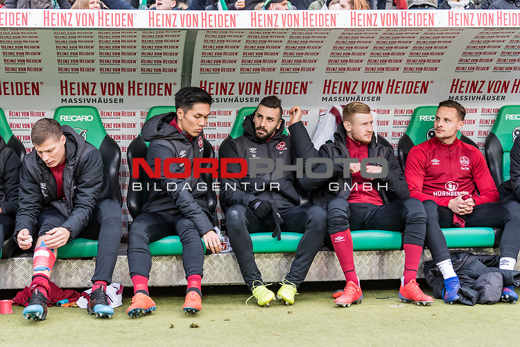 09.02.2019, HDI Arena, Hannover, GER, 1.FBL, Hannover 96 vs 1. FC Nuernberg<br /> <br /> DFL REGULATIONS PROHIBIT ANY USE OF PHOTOGRAPHS AS IMAGE SEQUENCES AND/OR QUASI-VIDEO.<br /> <br /> im Bild / picture shows<br /> Ersatzbank 1. FC Nürnberg, <br /> Patrick Erras (Nuernberg #29), Yuya Kubo (Nuernberg #14), Mikael Ishak (Nuernberg #09), Sebastian Kerk (Nuernberg #10), Robert Bauer (Nuernberg #08), <br /> <br /> Foto © nordphoto / Ewert