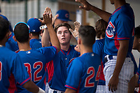 AZL Cubs 2 center fielder Cole Roederer (34) is congratulated by teammates in the dugout after scoring a run during an Arizona League game against the AZL Rangers at Sloan Park on July 7, 2018 in Mesa, Arizona. AZL Rangers defeated AZL Cubs 2 11-2. (Zachary Lucy/Four Seam Images)