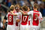 Nederland, Amsterdam, 15 september  2012.Seizoen 2012/2013.Eredivisie.Ajax-RKC 2-0.Jody Lukoki van Ajax wordt gefeliciteerd door zijn medespelers na het scoren van de 2-0..