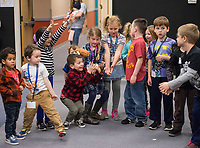 NWA Democrat-Gazette/BEN GOFF @NWABENGOFF<br /> Kindergarten through 2nd grade students play 'hot potato'  Thursday, Feb. 22, 2018, during the biweekly 'social day' meeting of the Social Homeschoolers Network of Northwest Arkansas at the First Baptist Church of Rogers Olive Street Campus.