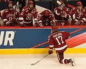 Sean Malone (Harvard - 17) - Ty Pelton-Byce (Harvard - 11), Devin Tringale (Harvard - 22), Tyler Moy (Harvard - 2), Clay Anderson (Harvard - 5), Viktor Dombrovskiy (Harvard - 27) - The University of Minnesota Duluth Bulldogs defeated the Harvard University Crimson 2-1 in their Frozen Four semi-final on April 6, 2017, at the United Center in Chicago, Illinois.