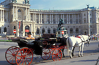 AJ2158, Vienna, horse and carriage, Austria, Europe, Horse and carriage waiting for passengers standing in front of the Imperial Palace (Hofburg) in downtown Vienna.