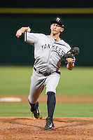 Tampa Yankees pitcher Alex Smith (26) delivers a pitch during a game against the Clearwater Threshers on June 26, 2014 at Bright House Field in Clearwater, Florida.  Clearwater defeated Tampa 4-3.  (Mike Janes/Four Seam Images)