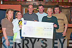Bridget Leen second from left presented a cheque for EUR4,450.00 to Fr. Pat O'Donnell, third from right in aid of The Kerry Hospice Foundation in Herbert's Bar Killflynn on Friday night.  pictured from l-r are  Jean Herbert, Bridget Leen, Fr. Pat O'Donnell, Micgheal McKenna, Donie Walshe and John Joe O'Sullivan.   Copyright Kerry's Eye 2008