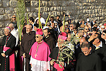 Israel, Jerusalem, the Latin Patriarch of Jerusalem Fouad Twal and the Custos of the Holy Land Fr. Pierbattista Pizzaballa at the Palm Sunday procession