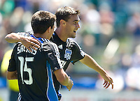 02 August 2009: Chris Wondolowski of the Earthquakes celebrates with Shea Salinas of the Earthquakes after Wondolowski scored a goal during the second half of the game against the Sounders at Buck Shaw Stadium in Santa Clara, California.   Earthquakes defeated Sounders FC, 4-0.