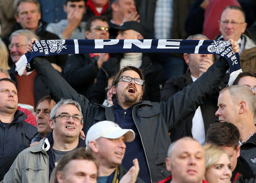 Preston North End fans show their support during the match<br /> <br /> Photographer David Shipman/CameraSport<br /> <br /> The EFL Sky Bet Championship - Norwich City v Preston North End - Saturday 22nd October 2016 - Carrow Road - Norwich<br /> <br /> World Copyright &copy; 2016 CameraSport. All rights reserved. 43 Linden Ave. Countesthorpe. Leicester. England. LE8 5PG - Tel: +44 (0) 116 277 4147 - admin@camerasport.com - www.camerasport.com