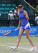 June 16th 2017, Nottingham, England; WTA Aegon Nottingham Open Tennis Tournament day 5;  Fistpump from Donna Vekic of Croatia as she wins the first set against Maria Sakkari of Greece