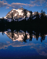 Evening light on Mt. Shuksan reflected in Highwood Lake; Mt. Baker/Snoqualmie National Forest, WA