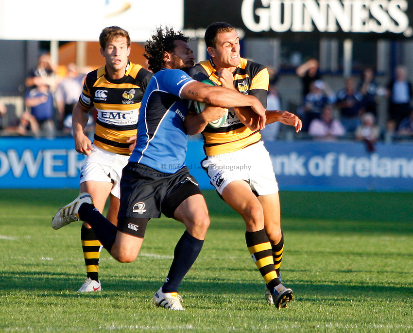 Photo: Richard Lane/Richard Lane Photography. Leinster v London Wasps. Pre Season Friendly. 20/08/2010. Wasps' Jack Wallace attacks.