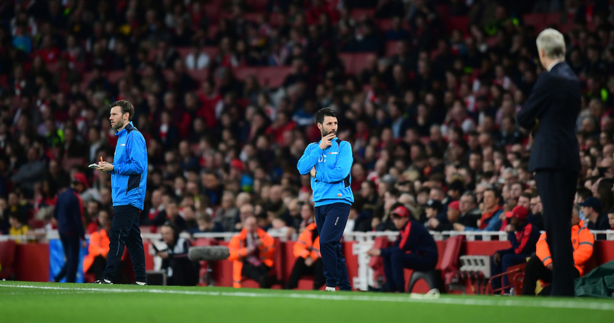 From left: Lincoln City's assistant manager Nicky Cowley, Lincoln City manager Danny Cowley and Arsenal manager Arsene Wenger <br /> <br /> Photographer Chris Vaughan/CameraSport<br /> <br /> The Emirates FA Cup Quarter-Final - Arsenal v Lincoln City - Saturday 11th March 2017 - The Emirates - London<br />  <br /> World Copyright &copy; 2017 CameraSport. All rights reserved. 43 Linden Ave. Countesthorpe. Leicester. England. LE8 5PG - Tel: +44 (0) 116 277 4147 - admin@camerasport.com - www.camerasport.com