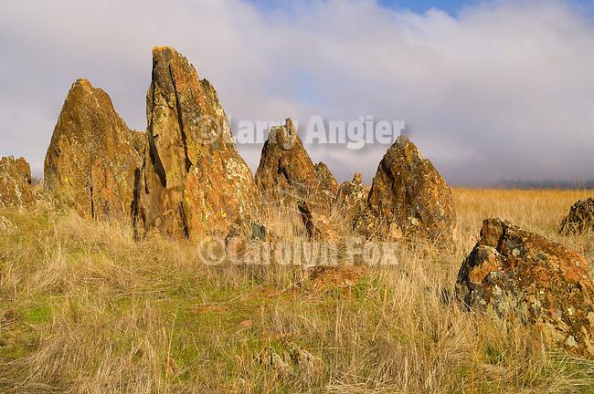 Tombstone rocks, fog rolling in, Sierra Foothills, Calif.