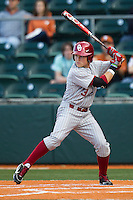Oklahoma Sooners outfielder Craig Aikin #3 at bat against the Texas Longhorns in the NCAA baseball game on April 5, 2013 at UFCU DischFalk Field in Austin Texas. Oklahoma defeated Texas 2-1. (Andrew Woolley/Four Seam Images).