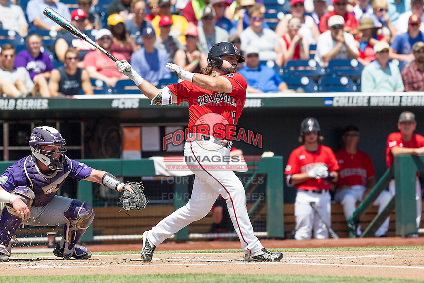 Texas Tech Red Raiders outfielder Tanner Gardner (8) follows through on his swing against the TCU Horned Frogs in Game 3 of the NCAA College World Series on June 19, 2016 at TD Ameritrade Park in Omaha, Nebraska. TCU defeated Texas Tech 5-3. (Andrew Woolley/Four Seam Images)