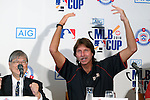 (L-R) Minoru Sakayachi, Randy Johnson, AUGUST 18, 2015 - Baseball : Chairman, Japan Little League Baseball Association, Minoru Sakayachi and Randy Johnson, CEO of the Arizona Diamondbacks,  attend AIG Presents 'MLB CUP 2016' press conference at Tokyo Japan on 18 Aug 2015. The Little League Baseball tournament for Japanese 4th and 5th grade elementary school children is part sponsored by the MLB and the winning team will be invited to watch an MLB game.  (Photo by Motoo Naka/AFLO)