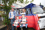 Mrs Cavelle Fabrizi and her husband Gaetano and their two daughters, Isabella and Jessica collecting her prize of a years supply of Braces Bread.<br /> 21.09.13<br /> <br /> &copy;Steve Pope-FOTOWALES