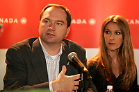 August 19 2004, Dorval - Montreal (Quebec) CANADA<br /> Robert Milton, CEOAir Canada (L) and<br /> Celine Dion (R)  in a  press conference after she sing for Air Canada's employees at Pierre E. Trudeau (YUL) Airport, August 19 2004.<br /> Photo by Yves Provencher / Images Distribution