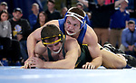 BROOKINGS, SD - FEBRUARY 11: Zach Carlson from South Dakota State University gets riding time against Noah Cressell from North Dakota State University during their 184 pound match Friday night at Frost Arena in Brookings, SD. (Photo by Dave Eggen/Inertia)