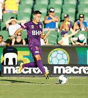 11th January 2020; HBF Park, Perth, Western Australia, Australia; A League Football, Perth Glory versus Adelaide United; Christopher Ikonomidis of Perth Glory passes the ball back to the goalkeeper to clear the danger - Editorial Use