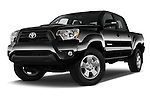 Stock pictures of low aggressive front three quarter view of 2015 Toyota Tacoma PreRunner 4 Door Pick up Low Aggressive