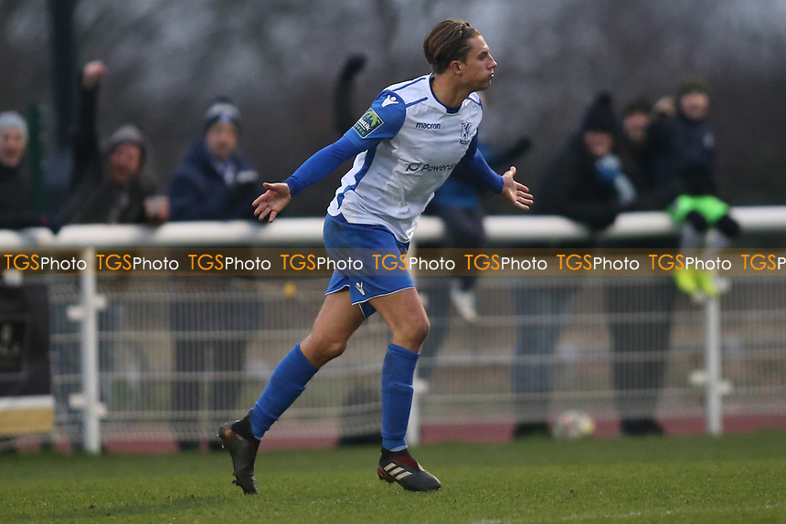 Sam Youngs celebrates his goal for Enfield during Enfield Town vs Lewes, Bostik League Premier Division Football at the Queen Elizabeth II Stadium on 5th January 2019
