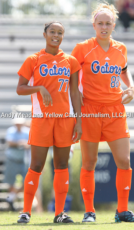 Florida's Ameera Abdullah (77) and Shelley Lyle (88) on Sunday September 17th, 2006 at Koskinen Stadium on the campus of the Duke University in Durham, North Carolina. The University of North Carolina Tarheels defeated the University of Florida Gators 1-0 in an NCAA Division I Women's Soccer game.