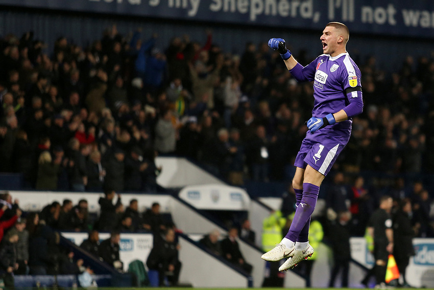 West Bromwich Albion's Sam Johnstone celebrates after his side go 1-0 ahead<br /> <br /> Photographer David Shipman/CameraSport<br /> <br /> The EFL Sky Bet Championship - West Bromwich Albion v Leeds United - Saturday 10th November 2018 - The Hawthorns - West Bromwich<br /> <br /> World Copyright © 2018 CameraSport. All rights reserved. 43 Linden Ave. Countesthorpe. Leicester. England. LE8 5PG - Tel: +44 (0) 116 277 4147 - admin@camerasport.com - www.camerasport.com