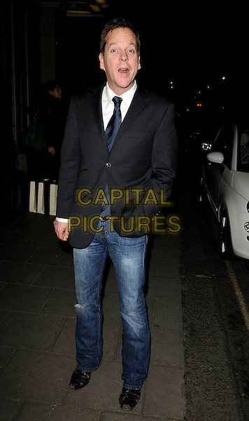 KIEFER SUTHERLAND.At the Radio Times Covers Party, Claridges Hotel, London, England, 20th January 2009..full length blue tie grey gray suit jacket blazer jeans white shirt.CAP/CAN.©Can Nguyen/Capital Pictures