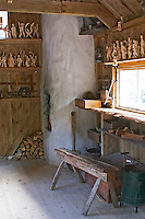 The carpentry shed where Emil was locked in when he was punished. 'Snickarboa' The original location where Astrid Lindgren's story of Emil in Lonneberga (Emil get's into mischief') was filmed. Katthult Smaland region. Sweden, Europe.