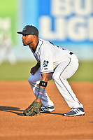 Asheville Tourists first baseman Luis Castro (31) during a game against the West Virginia Power at McCormick Field on May 10, 2017 in Asheville, North Carolina. The Tourists defeated the Power 4-3. (Tony Farlow/Four Seam Images)