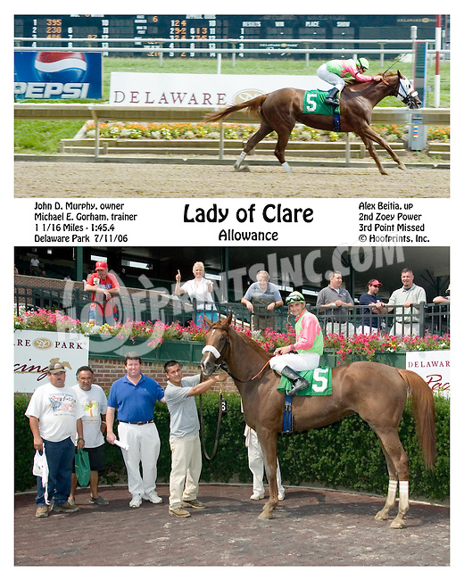 Lady of Clare winning at Delaware Park on 7/11/06