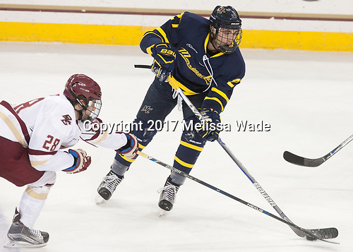 Ron Greco (BC - 28), Patrick Kramer (Merrimack - 27) - The visiting Merrimack College Warriors defeated the Boston College Eagles 6 - 3 (EN) on Friday, February 10, 2017, at Kelley Rink in Conte Forum in Chestnut Hill, Massachusetts.