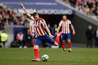 7th March 2020; Wanda Metropolitano Stadium, Madrid, Spain; La Liga Football, Atletico de Madrid versus Sevilla; Yannick Carrasco (Atletico de Madrid) takes a shot on goal