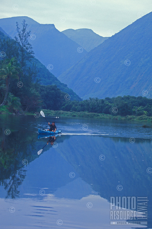 Kayaker on the Waipio River, Waipio Valley, Hamakua Coast, Big Island of Hawaii