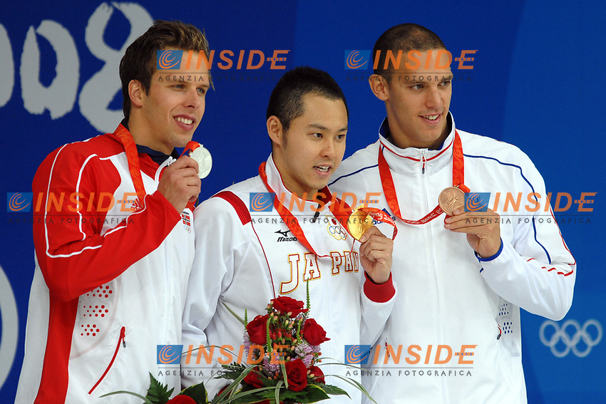 Hugues Duboscq France Bronze, Kosuke Kitajima Japan Gold, Alexandre Dale Oen Norway. Podium Men's 100M Breaststroke<br /> National Aquatics Center<br /> Pechino - Beijing 11/8/2008 Olimpiadi 2008 Olympic Games<br /> Foto Andrea Staccioli Insidefoto