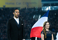 Mose Mackay sings the NZ national anthem before the Steinlager Series international rugby match between the New Zealand All Blacks and France at Eden Park in Auckland, New Zealand on Saturday, 9 June 2018. Photo: Dave Lintott / lintottphoto.co.nz