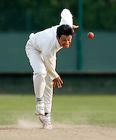 Sean Solia bowls for Hornsey during the Middlesex Cricket League Division Two game between Shepherds Bush and Hornsey at Bromyard Ave, London on Sat Aug 1, 2015