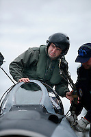 MiG-21 F pilot Capt Alexandru Catalin of the 95th Air Force Base from the Romanian Air Force. BOLD AVENGER 2007 (BAR 07), a NATO  air exercise at Ørland Main Air Station, Norway. BAR 07 involved air forces from 13 NATO member nations: Belgium, Canada, the Czech Republic, France, Germany, Greece, Norway, Poland, Romania, Spain, Turkey, the United Kingdom and the United States of America..The exercise was designed to provide training for units in tactical air operations, involving over 100 aircraft, including combat, tanker and airborne early warning aircraft and about 1,450 personnel.