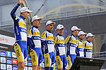 Sport Vlaanderen-Baloise team on stage at sign on before the 2019 Gent-Wevelgem in Flanders Fields running 252km from Deinze to Wevelgem, Belgium. 31st March 2019.<br /> Picture: Eoin Clarke | Cyclefile<br /> <br /> All photos usage must carry mandatory copyright credit (© Cyclefile | Eoin Clarke)