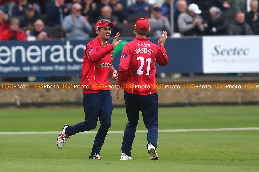Alastair Cook of Essex celebrates his catch to dismiss Ian Cockbain during Essex Eagles vs Gloucestershire, Royal London One-Day Cup Cricket at The Cloudfm County Ground on 4th May 2017