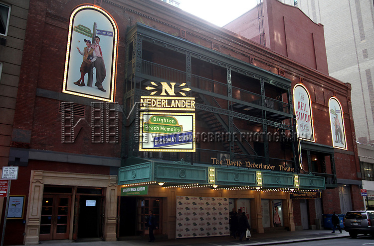 """Theatre Marquee for the Opening Night of Neil Simon's """"Bighton Beach Memoirs""""  at the Nederlander Theatre in New York City.<br />October 25, 2009"""